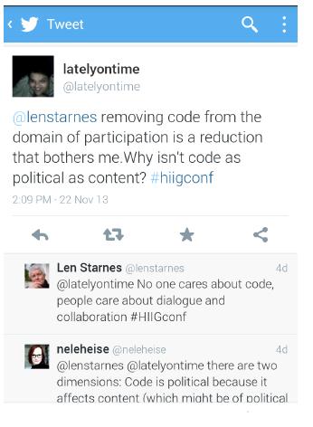 Begleitende Diskussion auf Twitter: Ist Code politisch?