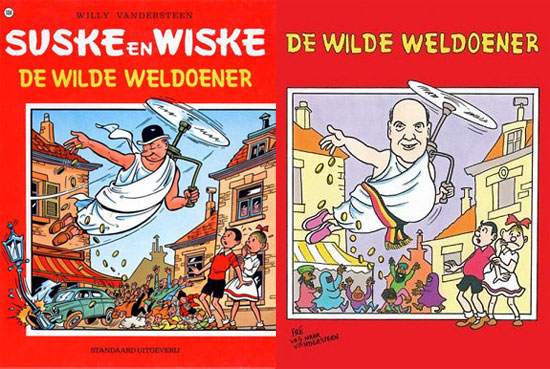 The original work (by Willy Vandersteen ) and its alleged parody at stake in Deckmyn