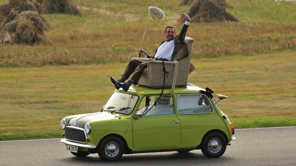 Mr. Bean driving his car adventurously