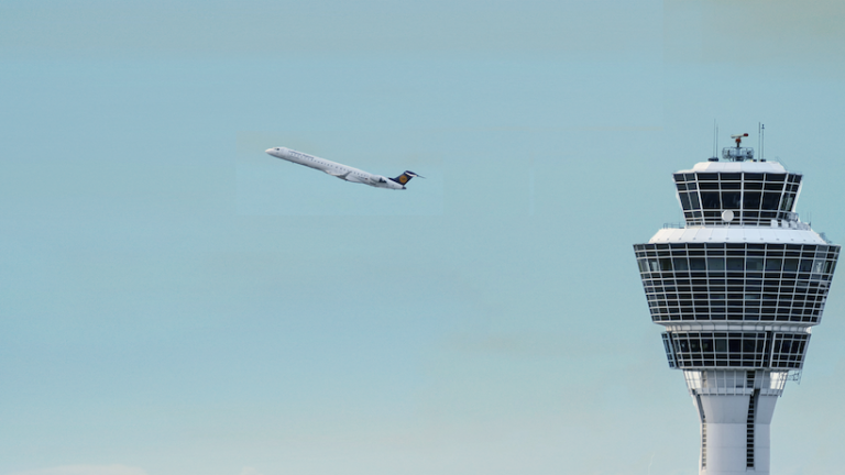 AI regulation dossier banner: Airport and plane heading off
