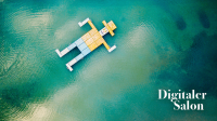 Insel in blauem Meer sieht aus wie ein Mann, mit Logo des Digitalen Salon