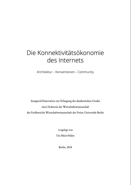 Titelbild der Dissertation: Konnektivitätsökonomie des Internets