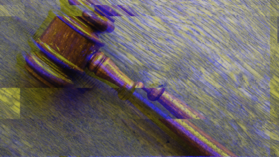 A gavel with glitch effect as symbol picture for robot judge