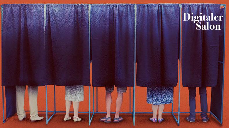 Menschen in Wahlkabinen