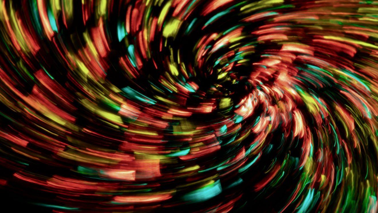 Abstrakte Spirale aus Lichtkegeln