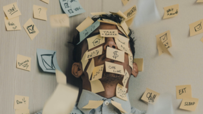 Man with a lot of post its on his face