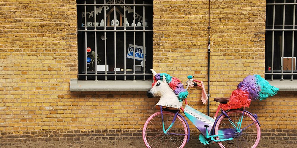 unicorn mask on a bicycle